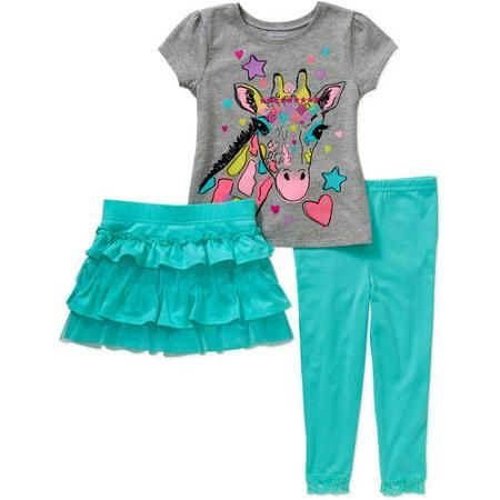 8e52661f85155 Garanimals Baby Toddler Girl Short Sleeve Graphic Tee, Skort, & Lace  Leggings 3-Piece Outfit Set - Walmart.com