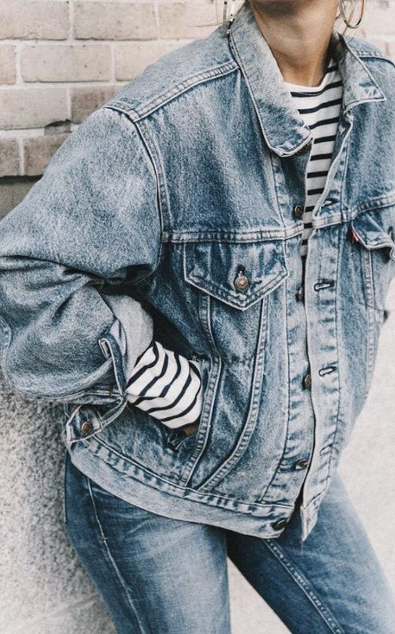 denim on denim outfit | levis baggy denim jacket + levis 501
