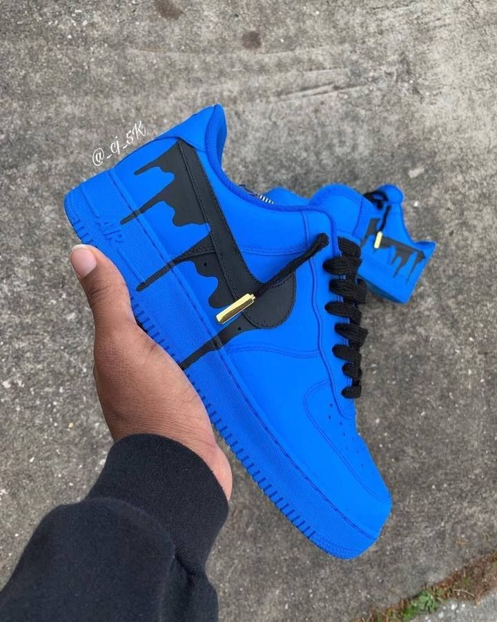 Nike Air Force 1 Low with Yellow and Black Drip Design Boty