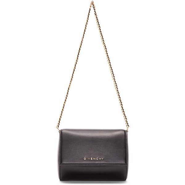 Givenchy Black Minaudière Pandora Box Bag (15.342.885 IDR) ❤ liked on Polyvore featuring bags, handbags, shoulder bags, givenchy handbags, shoulder handbags, givenchy purse, chain strap purse and structured purse