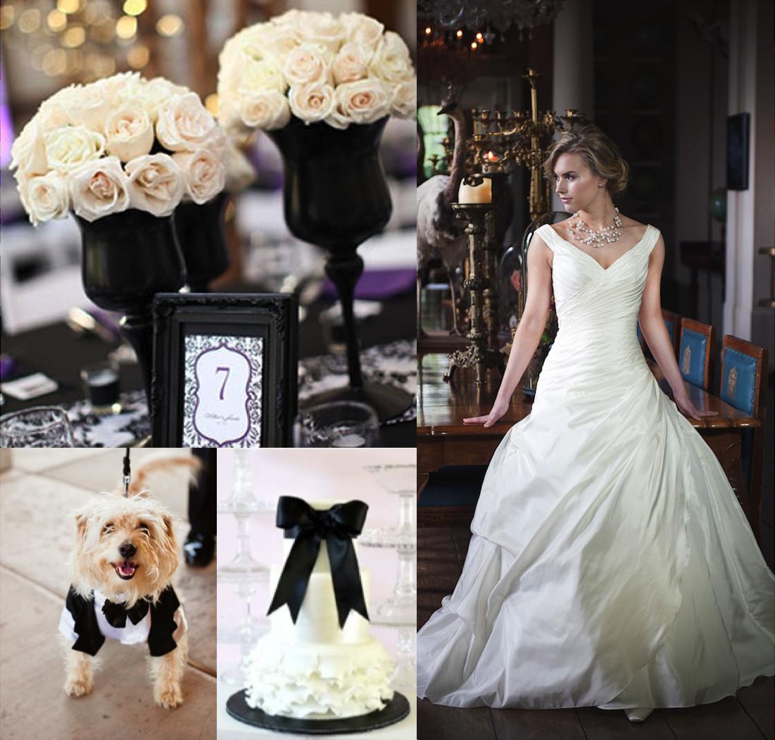 Black and white wedding decor ideas  Black u white wedding theme Wedding dress available at Alison Jane