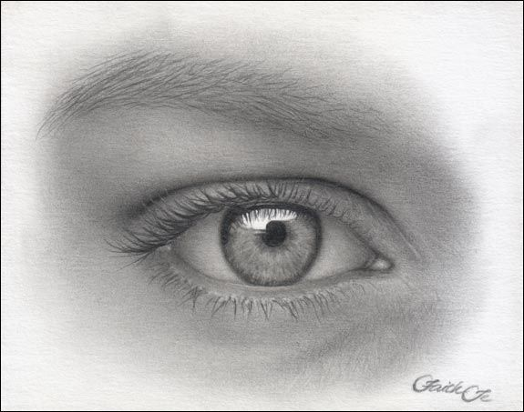Female eye pencil drawing tutorial step 14