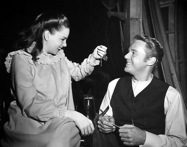 Judy Garland shows Van Johnson her lucky charm on the set of In The ...