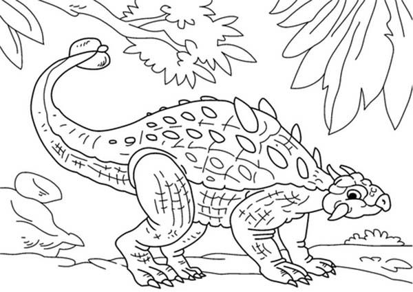 Ankylosaurus Hide From Enemy Coloring Page