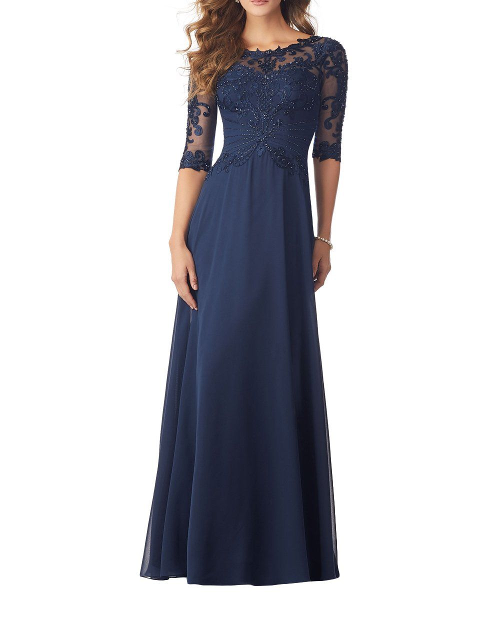 Charmant Damen 16 Neu Elegant Langarm Spitze Abendkleider