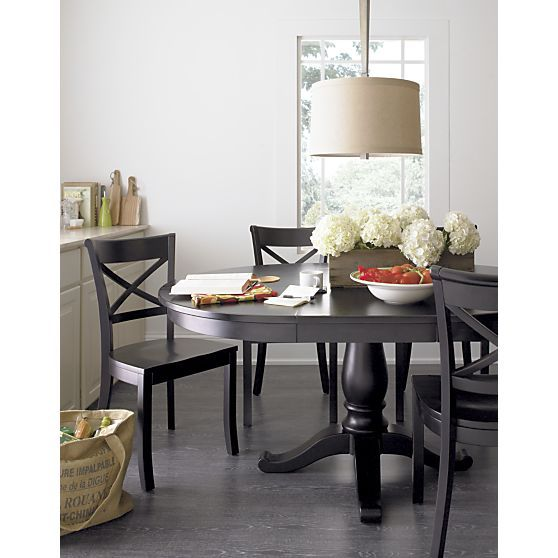 Vintner Black Wood Dining Chair And Cushion Black Round Dining