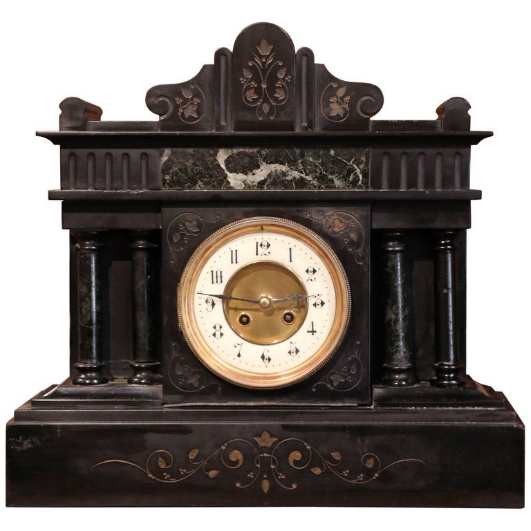 19th Century French Black And Green Inlay Marble Mantel Clock Mantel Clock Black Mantel Clocks Clock