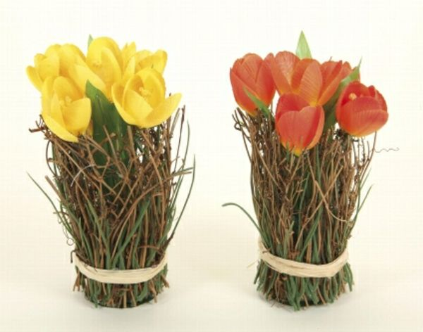 Tischdeko geburtstag rustikal  tulpen gelb rot tischdeko rustikal | blumendeko | Pinterest ...