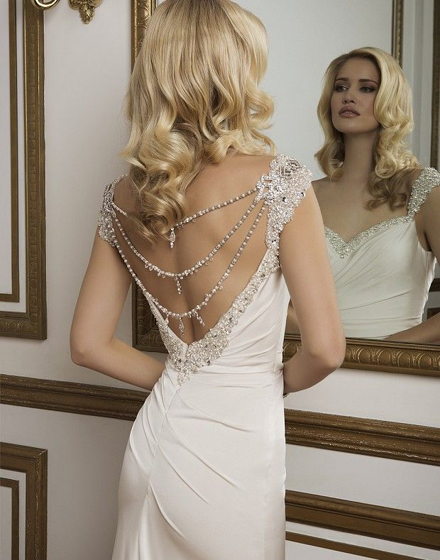 Hand Beaded Sweetheart Neckline And Straps Adorn This Soft Asymmetrically Draped Straight Wedding Dress Accessories Hollywood Glamour Wedding Backless Wedding