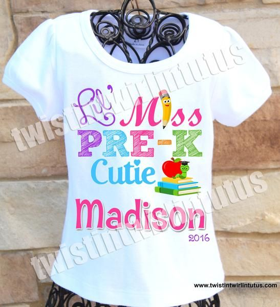 b3c24ddd6 An adorable custom First Day of School shirt personalized with your child's  name and grade. This shirt is cute for both Kindergarten and PreK. All  shirts ...