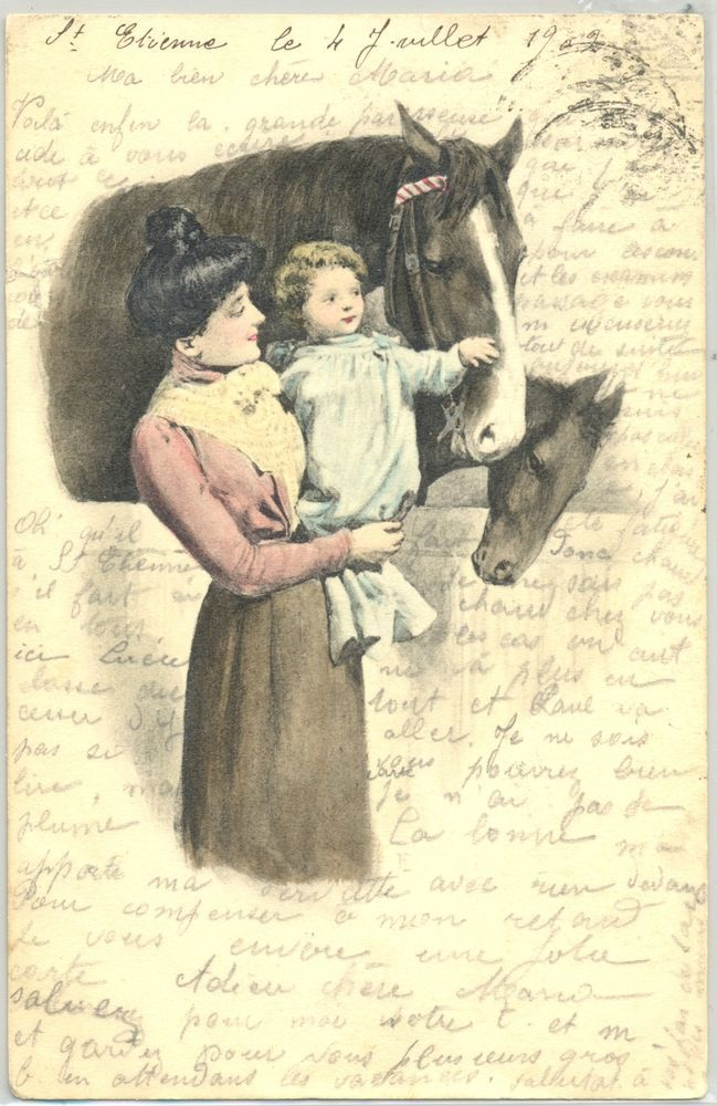 MF131 VIENNE Style MERE & ENFANT CHEVAL Chevaux MOTHER & CHILD HORSES