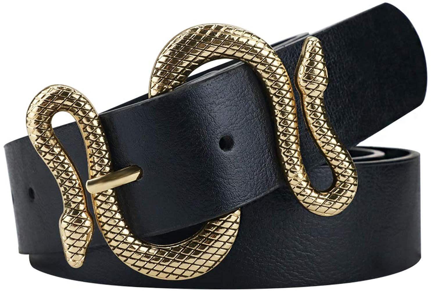 Belts for Women, Vintage Womens Belts for Dresses, Studded Black