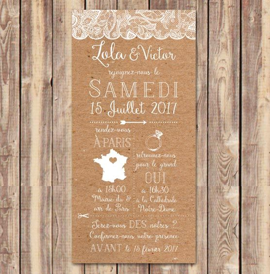 faire part invitation mariage kraft jute dentelle bapt me pinterest invitation mariage. Black Bedroom Furniture Sets. Home Design Ideas