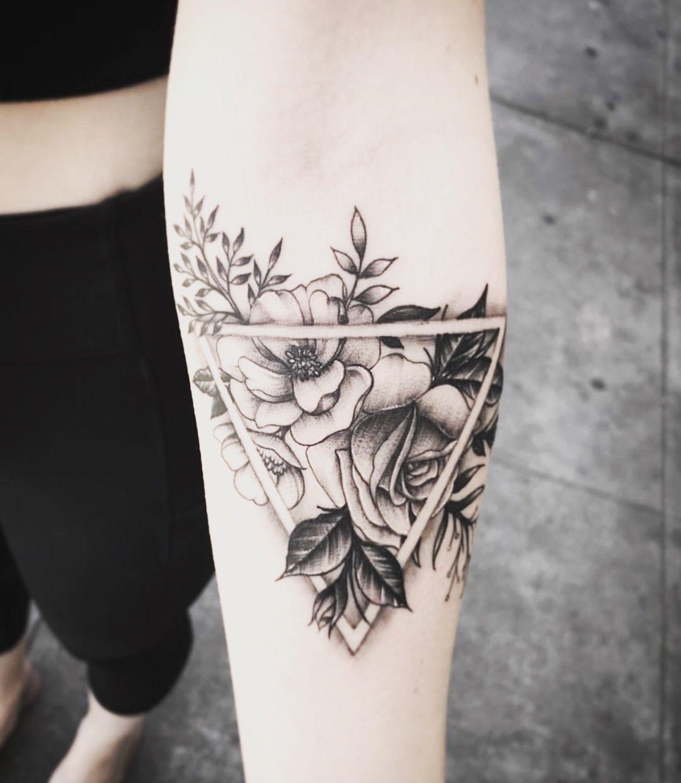 Geometric Flower Tattoo Geometric Flower Tattoo Triangle Tattoos Cute Tattoos