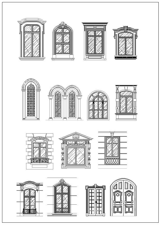Ornamental door window bundle cad design free cad for Window design sketch