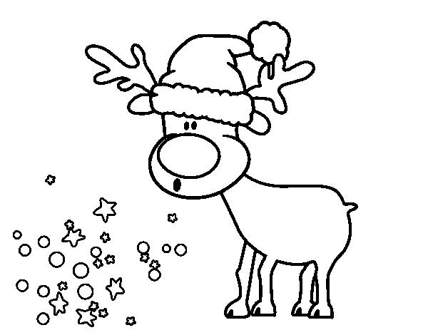 Dibujo de reno con gorro para colorear navidad - Renos para dibujar ...