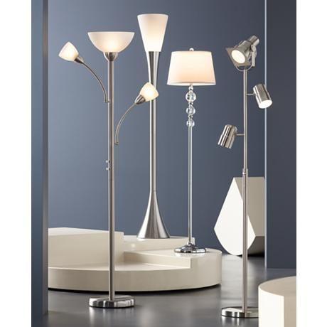 Alexei Brushed Nickel Gooseneck Torchiere Floor Lamp 69794 Lamps Plus Torchiere Floor Lamp Chrome Floor Lamps Floor Lamp