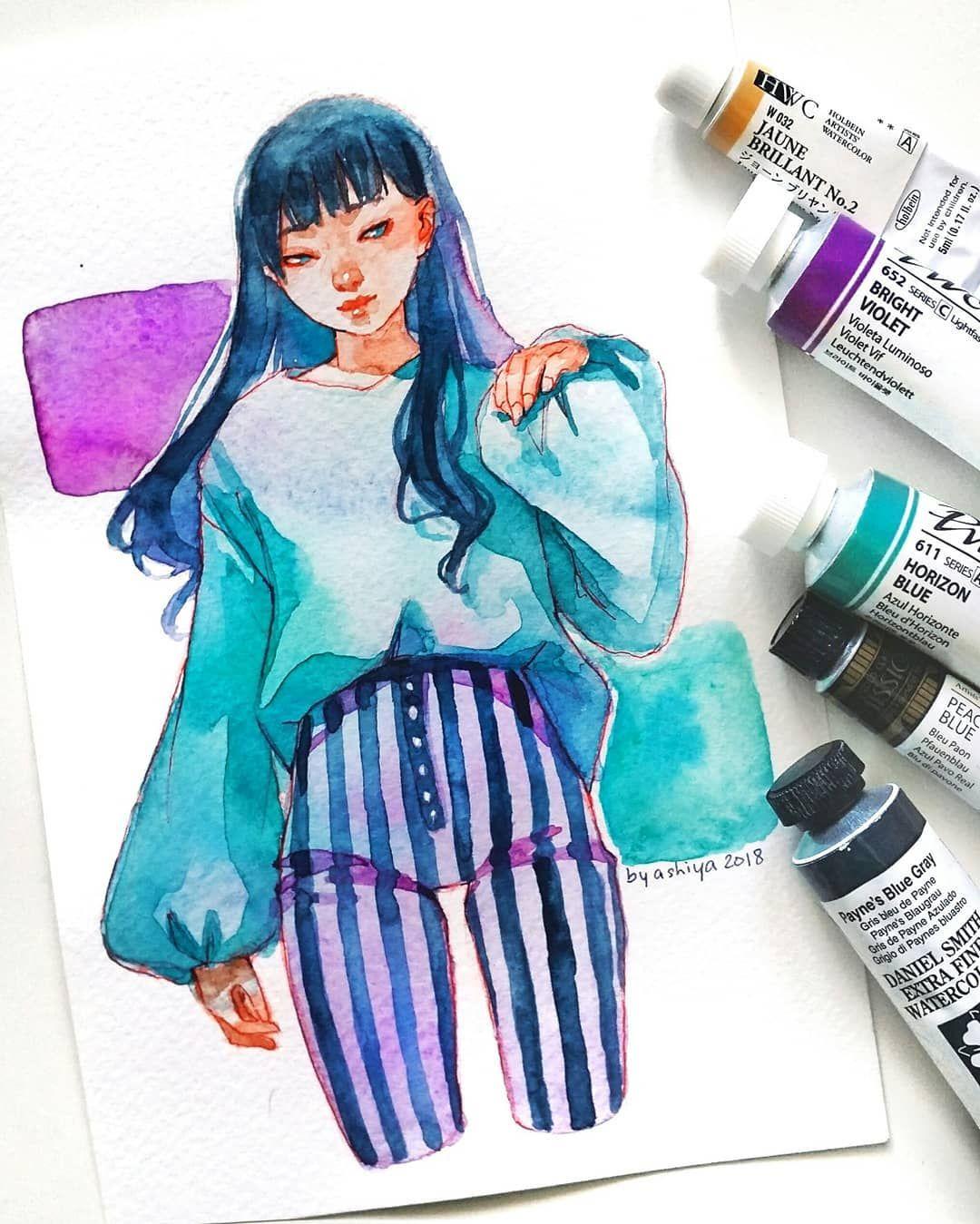 (ashiyaart) Cute art, Colorful art, Watercolor art