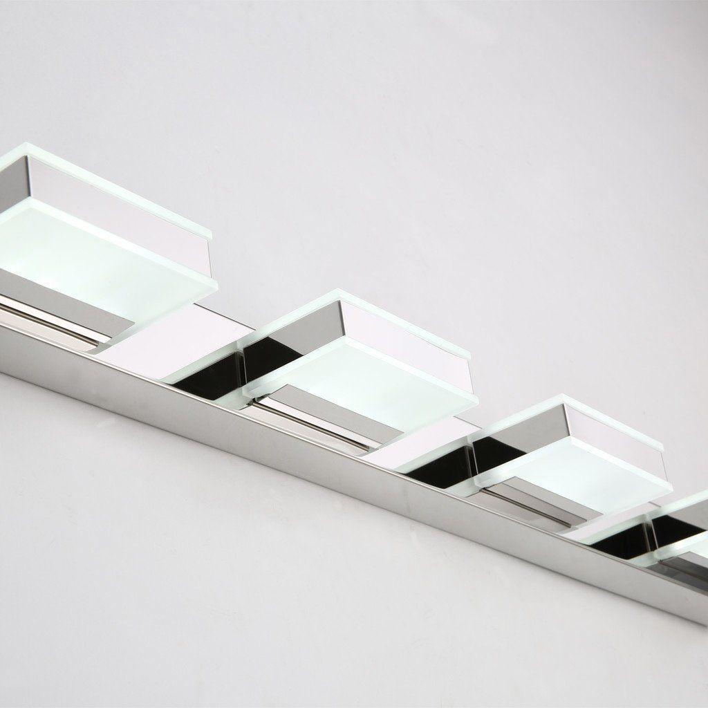 Mirrea 16w Modern Led Vanity Light In 4 Lights Stainless Steel