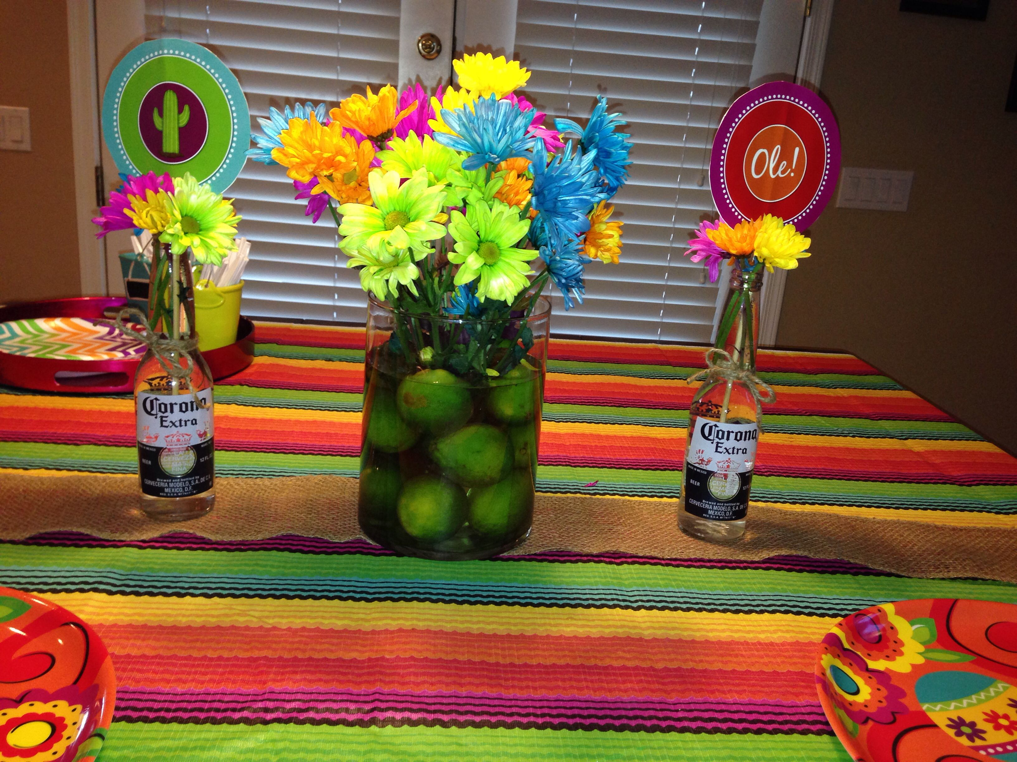 Lime centerpiece for a mexican fiesta birthday party for Mexican party decorations