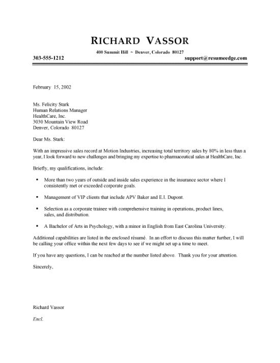 Pharmaceutical Sales Cover Letter Example Sample Application For