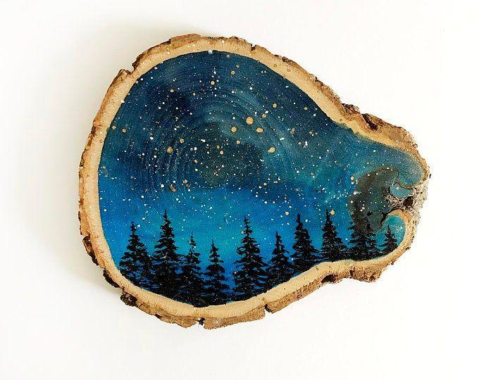 Galaxy Ornaments Wood Slice Ornament Rustic Wood Slice