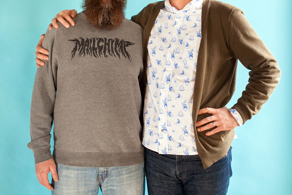 Heavy metal sweatshirt and toile button down