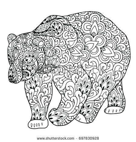 Zentangle doodle patterned fantasy bear isolated design ...