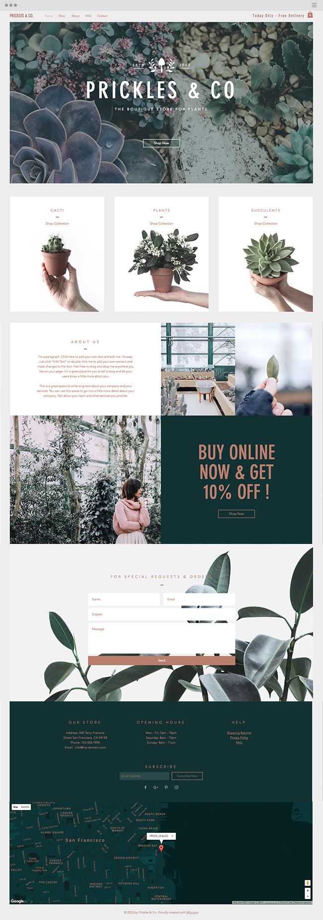 Plants Boutique Website Template Simple Website Design Fun Website Design Website Layout Inspiration
