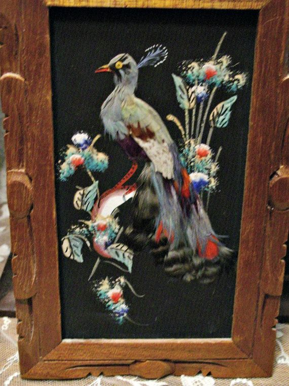 Sweet Mid Century Mexican Bird Art Feather And Paint Ready For Wall Placement These Were Found Without Gl Still Lovely