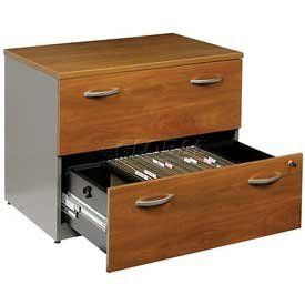 Lateral File In Natural Cherry - Office Furniture Groupings by BUSH IND INC. $289.95. OFFICE FURNITURE GROUPINGS Lateral File This office furniture collection is great for executive office, home office, doctors office and even reception area environments. Modular office furniture features durable, rich cherry finished 1 thick laminate work surfaces that are scratch and stain resistant. Surfaces have a PVC edge banding for safety. File Cabinet has drawers with an anti-tip...