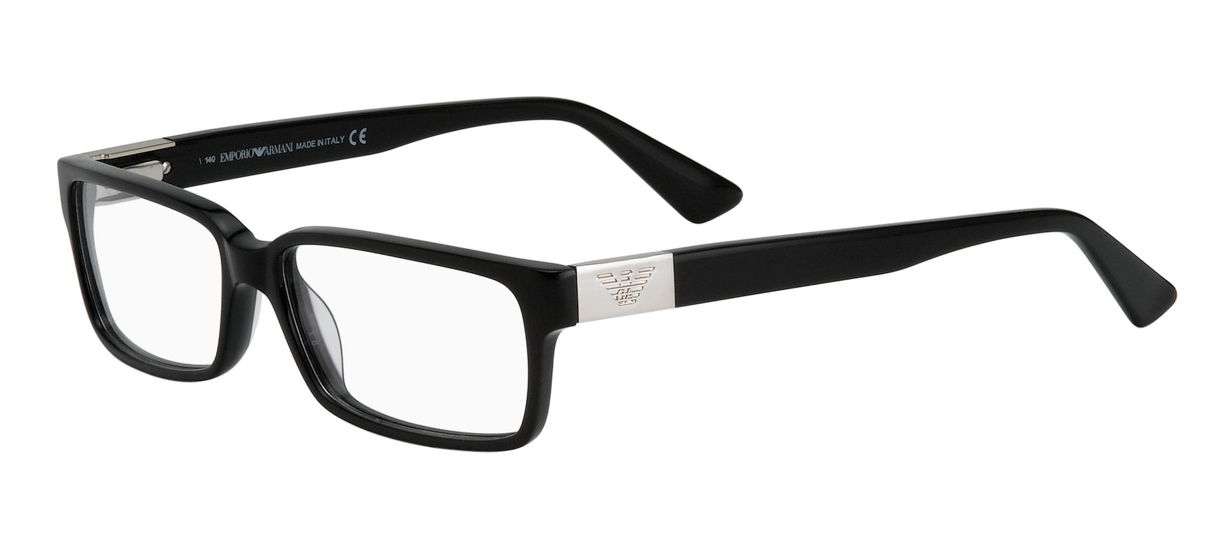 65a4e35842 Classic Armani. A flattering deep rectangular frame shape in black with a  stylish, high contrast silver logo plaque on the sides. SKU 25635126 from  $199 for ...