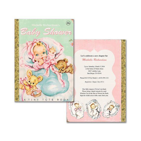 Printable book themed baby girl shower invitation vintage baby digital diy vintage baby book shower invitation by kbandfriends solutioingenieria Choice Image