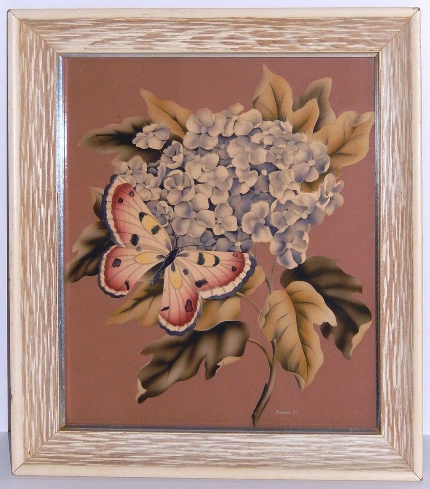 Vintage Turner Silkscreen Print Butterfly Floral Mid Century Wood ...