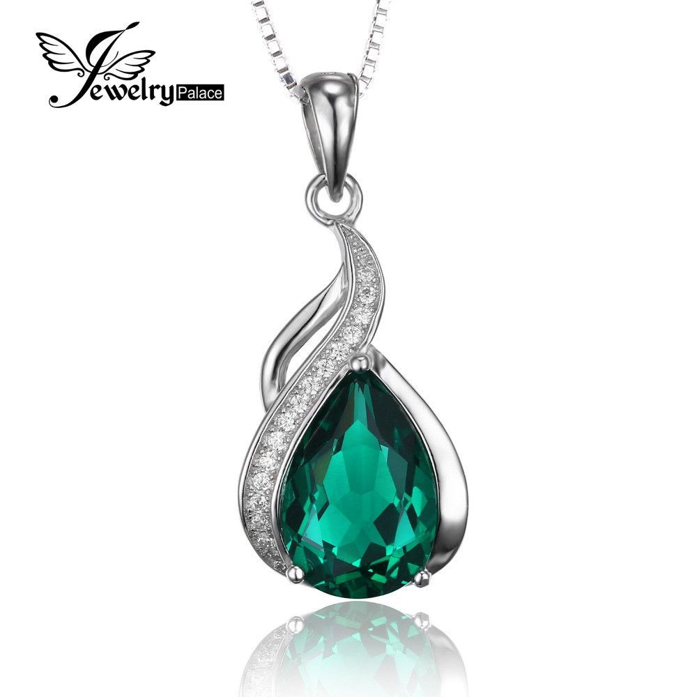 Jewelrypalace women ct high quality created emerald pendant set