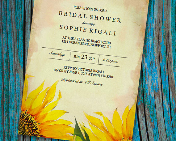 Printable Bridal Shower Invitation Template, Vintage Sunflower - free printable wedding shower invitations templates