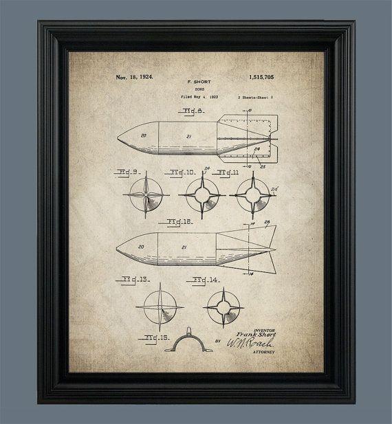 Bomb Patent Print - Bomb Poster - War Poster - Military Art ...