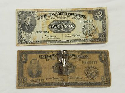 1949 Philippine Peso Paper Money Currency Vintage 1 Peso And 2