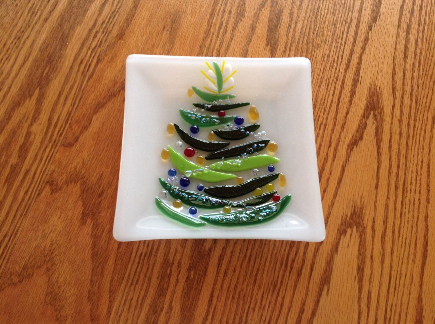 Fused glass Christmas cookie plate by GlassbyRD on Etsy ... - photo#1