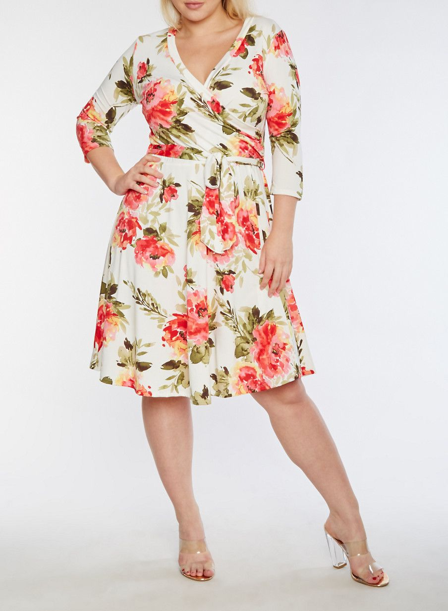 3eb93646eb9 Plus Size Faux Wrap Floral Printed Midi Dress,IVORY,large   Dream ...