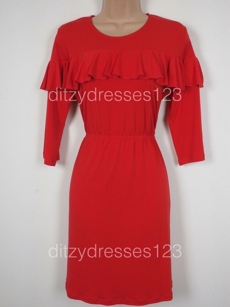 dbeb2847155 Red Tea Dress Size 16 BNWT V by Very Frill Detail Stretch RRP 28  fashion   clothing  shoes  accessories  womensclothing  dresses (ebay link)