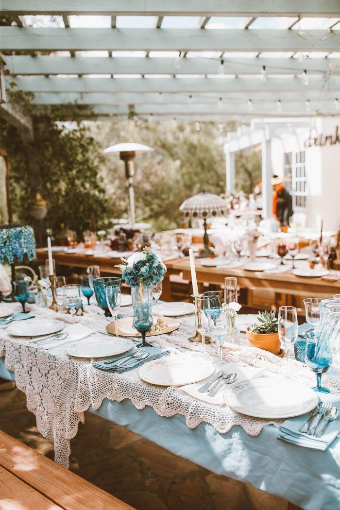This Eclectic Wedding at Home Came to Life with Thrift Store Finds and Thoughtful Touches #thriftstorefinds
