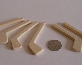set of 6 natural wood miniature decorative ice hockey player sticks wedding boutonnieres diy