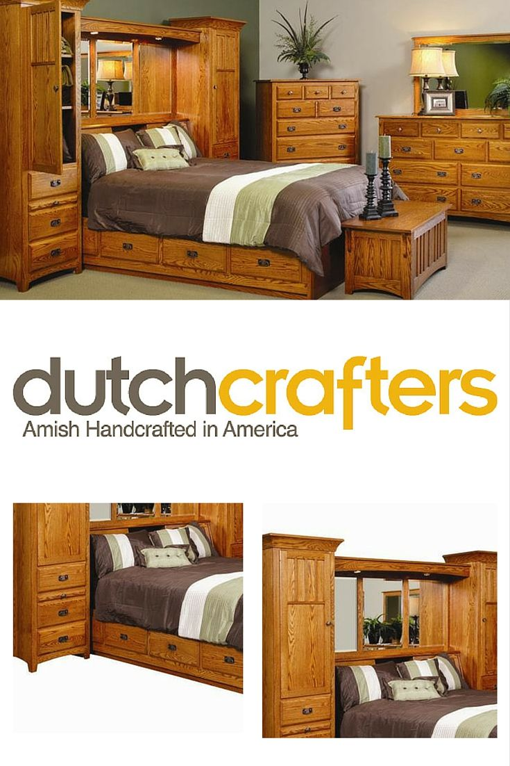 Amish Monterey Pier Wall Bed Unit With Storage Platform Bedroom Wall Units Master Bedroom Furniture Large Living Room Furniture,Rustic French Country Bedroom Furniture
