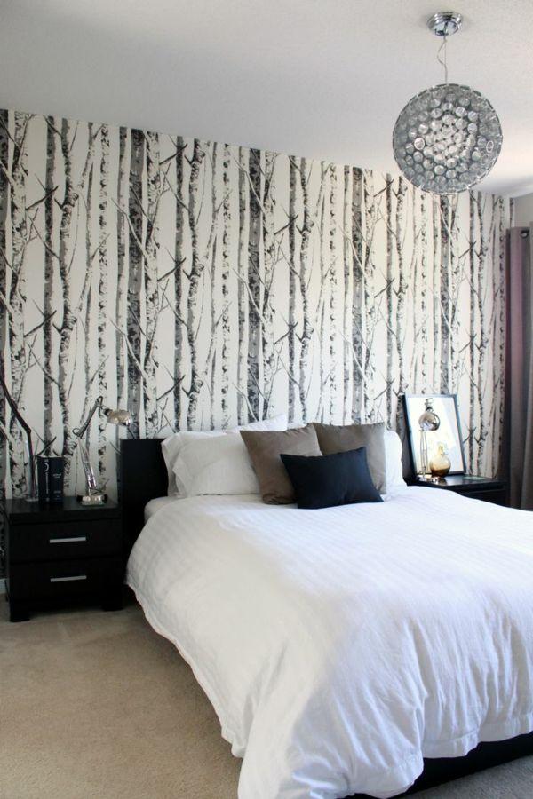 tapeten baumtapete im schlafzimmer in neutralen schattierungen - tapete für schlafzimmer