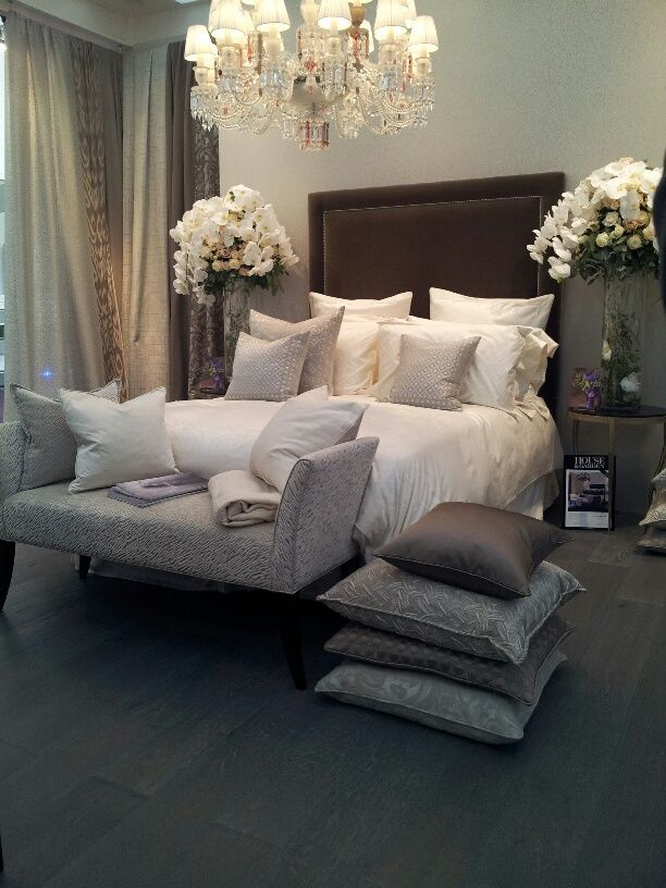 Gray, cream and brown bedroom. I\'m actually liking this for ...