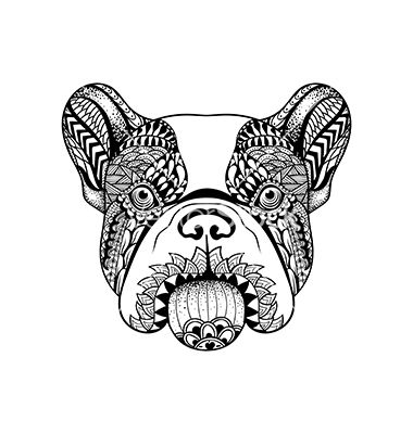 zentangle stylized french bulldog face hand drawn vector by