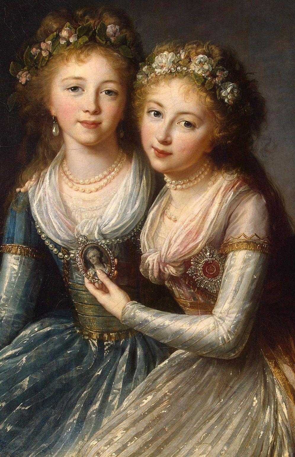 "Elisabeth-Louise Vigee Le Brun, ""Tea at Trianon: Daughters of Tsar Paul (Alexandra and Elena Pavlovna),"" 1796."