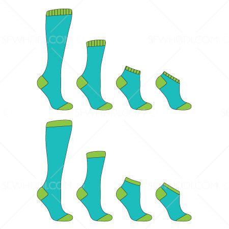 Basic Sock Fashion Flat Template   Fashion Flats   Fashion