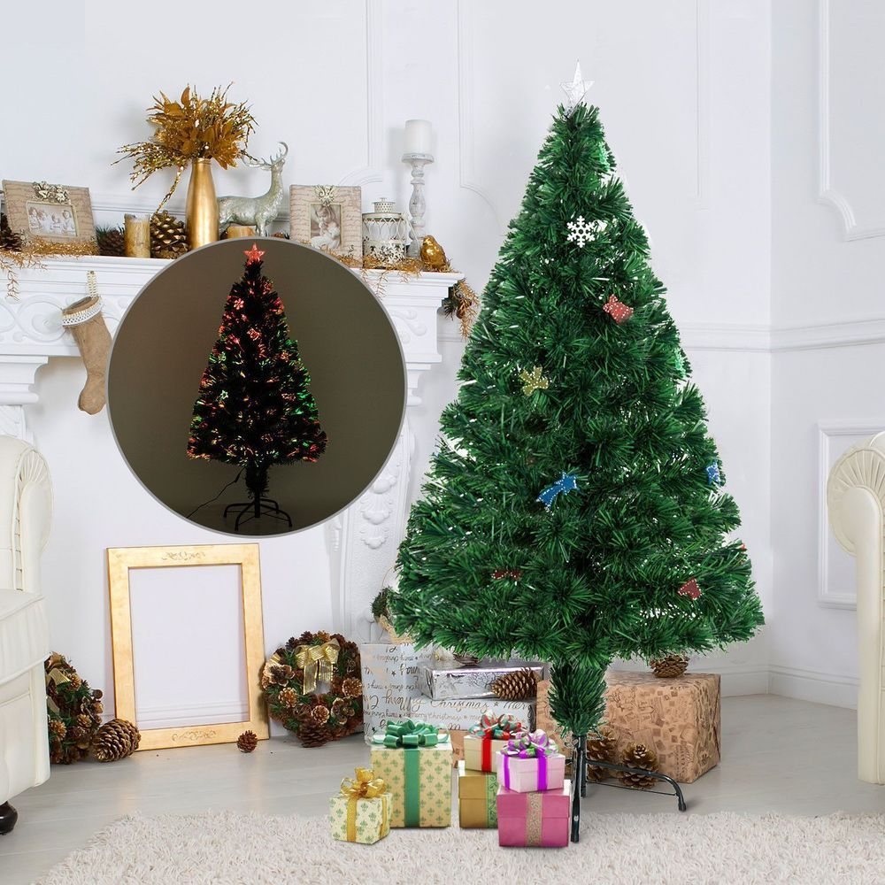 Pine Artificial Christmas Tree Holiday With Ornaments Solid Green ...